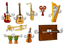 Classic cartoon musical instruments characters. Cheerful cartoon classic musical instruments characters with african djembe drums, upright piano, harp, mexican Royalty Free Stock Photography