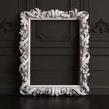 Classic carved mirror frame mockup with copy space stock photos