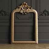 Classic carved mirror frame mockup with copy space vector illustration