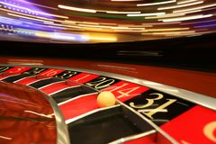 Classic casino roulette wheel with ball royalty free stock photos