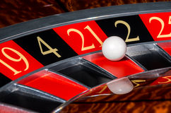 Classic casino roulette wheel with red sector twenty-one 21 Royalty Free Stock Image