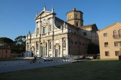 Cathedral in Cesena city, Italy stock images