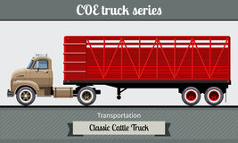 Classic cattle truck semi trailer Royalty Free Stock Image