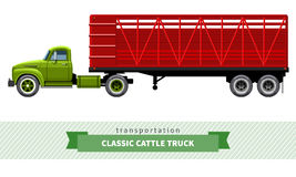 Classic cattle truck semi trailer royalty free illustration