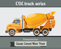 Classic cement mixer truck side view Stock Images