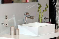 Classic ceramic bath sink with chrome faucet Stock Image