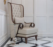Classic chair in luxury home with glass table Stock Photos