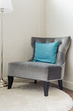 Classic chair style with blue pillow Royalty Free Stock Photography