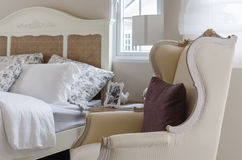 Classic chair style with pillow in bedroom Stock Photo