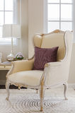 Classic chair style with pillow and lamp Royalty Free Stock Photos