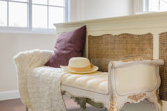 Classic chair style with pillow in luxury bedroom Royalty Free Stock Photos