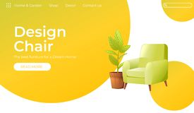 Classic Chair for your home interior design banner. Landing Page Website conept. Comfortable armchair with a plant in a. Room with retro wallpaper. Vector stock illustration