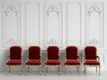 Classic chairs in classic interior with copy space royalty free stock image