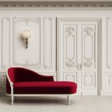 Classic chaise longue in classic interior with copy space stock photography