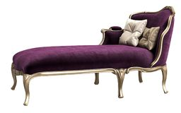 Classic chaise longue isolated on white background. Gilded woodcarving ,dark purple velvet,silk beige pillows. Digital illustration. 3d rendering stock illustration