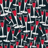Classic champagne glasses vector seamless pattern Royalty Free Stock Photography