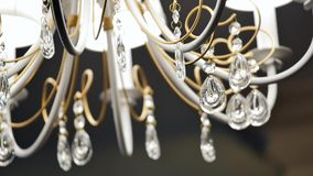 Classic chandelier isolated on grey background stock footage
