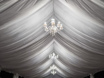 Classic chandeliers on party tent. Classic chandeliers on event party tent Stock Photos