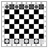Classic checkers,  board and checkers. Royalty Free Stock Photos