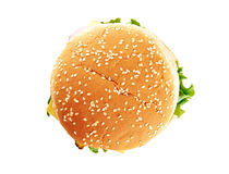 Classic cheeseburger. Isolated on white background. Top view Royalty Free Stock Photos