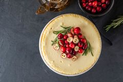 Classic cheesecake with cranberries and rosemary on a dark background. Winter version of cheesecake. Christmas. Classic cheesecake with cranberries and rosemary royalty free stock image