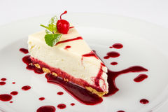 Classic cheesecake in a raspberry Stock Photo