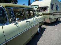 Classic Chevy wagon and RV Royalty Free Stock Photography