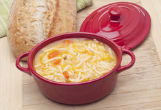 Classic Chicken Noodle Soup Stock Photo