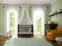 Classic children room with brown cradle Royalty Free Stock Photos