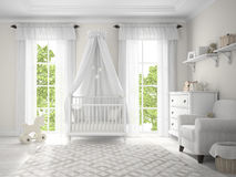 Classic children room with cradle. 3D rendering Royalty Free Stock Photos