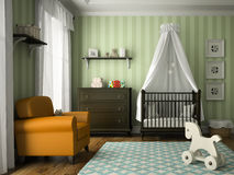 Classic children room with green stripes wall. 3D rendering Royalty Free Stock Photos