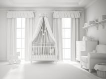 Classic children room white color 3D rendering Royalty Free Stock Photos