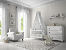 Classic children room white color Royalty Free Stock Photos