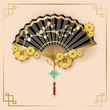 Classic Chinese new year background, vector illustration. Chinese fans isolated on white background royalty free illustration