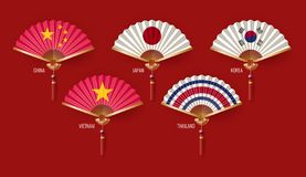 Classic Chinese new year background, vector illustration. Chinese fans isolated on white background vector illustration