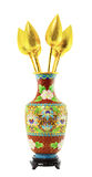 Classic chinese paint vase and golden lotus. Isolation on white Royalty Free Stock Image