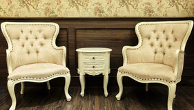 Classic Chinese Vintage Style Table and Chair Furniture Set in a Living Room Stock Images