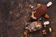 Classic chocolate ice cream with nuts Stock Photo
