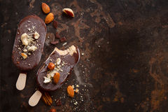 Classic chocolate ice cream with nuts Royalty Free Stock Photography