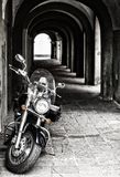 Classic chopper, black motorcycle Royalty Free Stock Photo