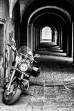 Classic chopper, black motorcycle Royalty Free Stock Photography