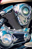 Classic chopper motorcycle engine stock photography