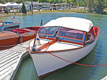 Classic Chris Craft Runabout. This is a nicely maintained Chris Craft wooden runabout. Length to beam ratio indicates boat was probably built for cruising and Stock Images