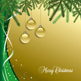 Classic  Christmas background with pine needles Stock Photo