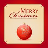 Classic Christmas ball red and glossy decoration. Royalty Free Stock Images