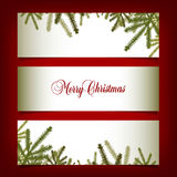 Classic  Christmas banners with pine needles. For print or web Royalty Free Stock Photography
