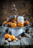Classic Christmas Composition with Tangerines Royalty Free Stock Photos