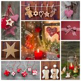 Classic christmas decoration in red, checked and green Stock Photo