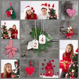 Classic christmas decoration in red checked and green with child Royalty Free Stock Photo