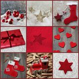 Classic christmas decoration in red, grey and white Royalty Free Stock Photo